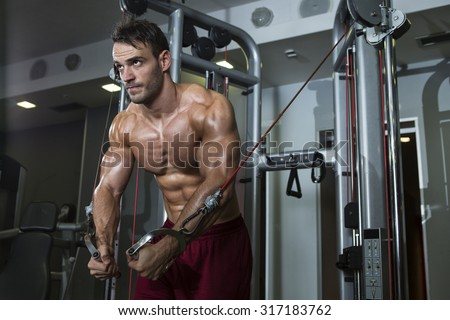 Bodybuilder working out  - stock photo