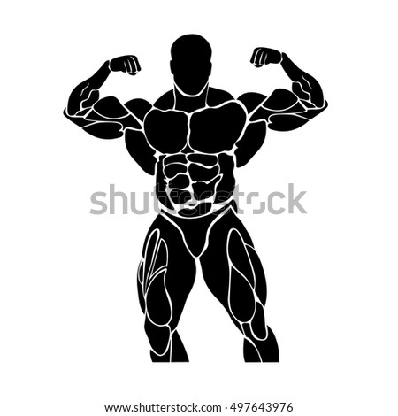 Bodybuilding and powerlifting concept, icon