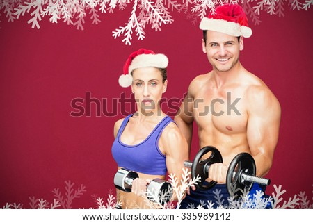 Bodybuilding couple against red background - stock photo