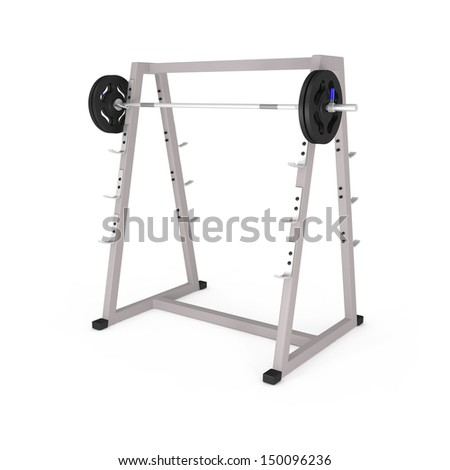 Bodybuilding Equipment in Gym isolated on white - 3d illustration - stock photo