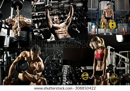 bodybuilding,  execute exercise press with weight, in gym, collage of photo - stock photo