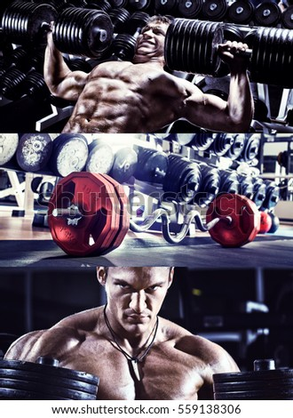bodybuilding,  execute exercise press with weight, in gym, collage of photo, blue, violet tone