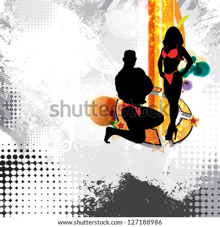 Bodybuilding illustration - stock photo