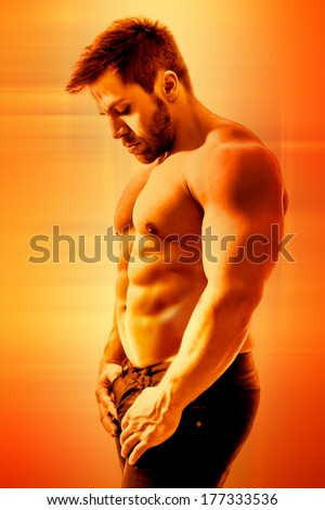 bodybuilding man art poster - stock photo