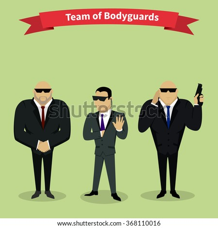 Bodyguards team people group flat style. Security and security guards, security man, secret service, protection and professional teamwork illustration. Raster version - stock photo