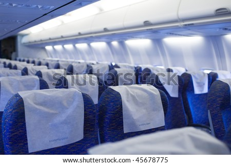 boeing airplaine interior empty and passangers free - stock photo