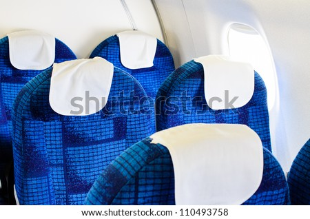 Boeing airplane interior empty and passenger  free