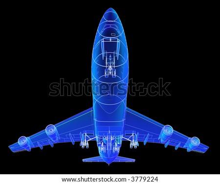 Boeing 747 blueprint rendering. - stock photo