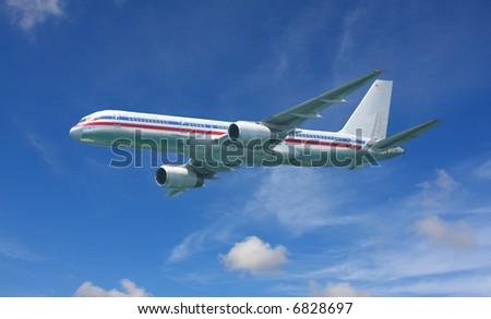 Boeing 767 commercial jet landing - stock photo