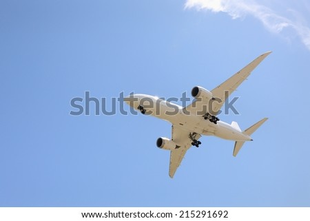 Boeing 787 Jet Landing.Jet passing overhead on it's landing approach.