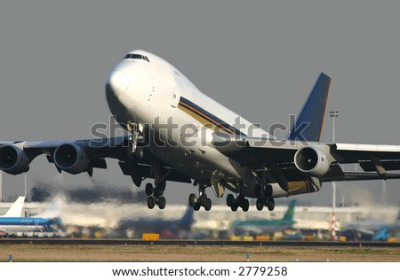 Boeing 747 taking off - stock photo