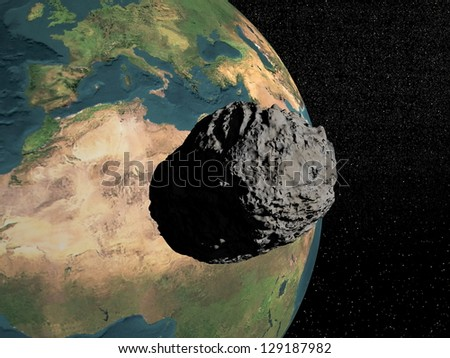 Bog grey meteorite going to earth in universe full of stars - stock photo