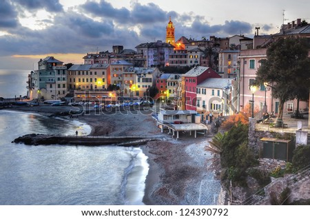 Bogliasco, Genoa, Italy- colorful fishermen village (hdr image) - stock photo