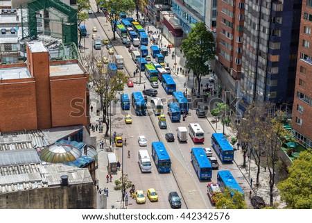 BOGOTA, COLOMBIA - APRIL 26: Heavy traffic in downtown Bogota, Colombia on April 26, 2016 - stock photo