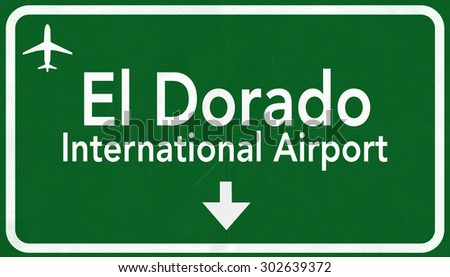 Bogota Colombia International Airport Highway Sign 2D Illustration - stock photo