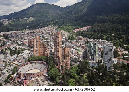 Bogota, Colombia - January 18 2009: The skyline of downtown Bogota with many skyscrapers and commercial buildings.