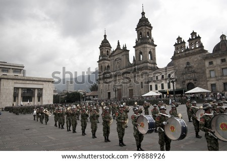 BOGOTA, COLUMBIA - JANUARY 18: Colombian soldiers were marching and performing during a military parade in Historical Central, Plaza de Bolivar on January 18, 2009 in Bogota, Colombia. - stock photo