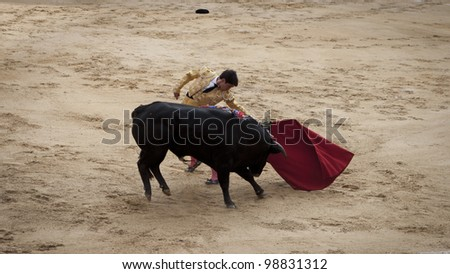 BOGOTA - JANUARY 18: An unidentified Colombian bullfighter performs in the Plaza de Toros on January 18, 2009 in Bogota, Colombia.The popular bullfighting competition is held annually in Plaza de Toros. - stock photo