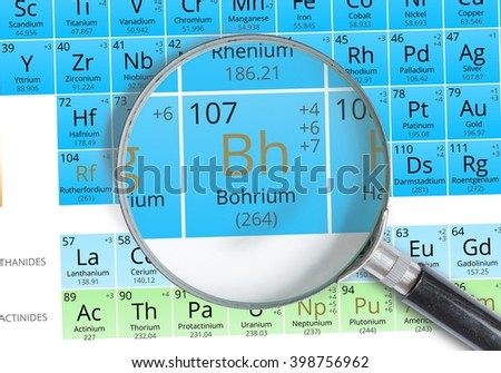 Praseodymium symbol pr element periodic table stock photo bogrium symbol bh element of the periodic table zoomed with magnifying glass urtaz Gallery