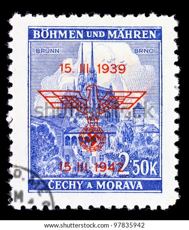 BOHEMIA - CIRCA 1939: A stamp printed during Germany occupation of Czechoslovakia, shows Castle Spilberk and Cathedral st. Peter and Paul in Brno, series, circa 1939