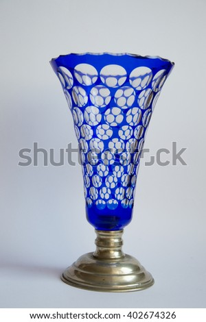Bohemian blue peeled glass vase with silver sole
