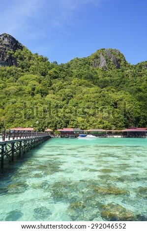 Bohey dulang jetty semporna sabah malaysia - stock photo