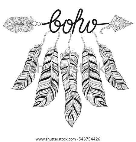Indian Tribal Coloring Pages. Boho chic ethnic Arrow with feathers  freedom concept Hand drawn American native style Ethnic Feathers Freedom Concept Stock Vector 525305599