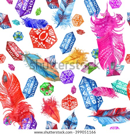 Boho style elements ornament. Watercolor painting crystal and feather seamless pattern. - stock photo