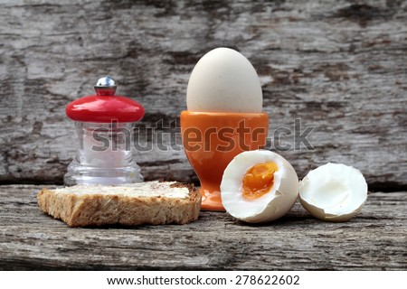 boiled breakfast eggs  - stock photo