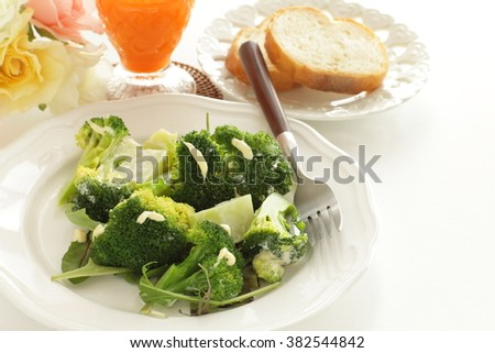 boiled broccoli and mayonnaise