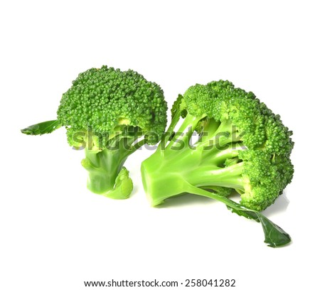 Boiled broccoli isolated with white on background - stock photo