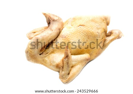 boiled chicken on white background - stock photo