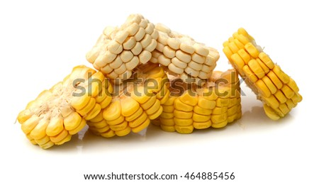 Boiled corn cobs isolated on white background