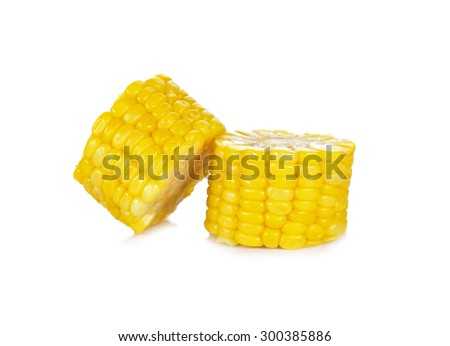 Boiled corn on white background - stock photo