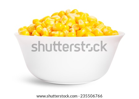 Boiled corn seeds isolated on white background - stock photo
