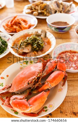 Boiled crab prepared on plate on table set-2 - stock photo