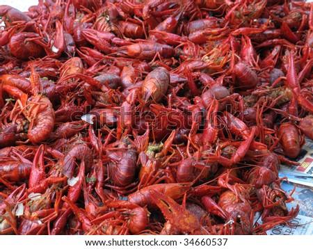 Boiled crawfish ready to eat - stock photo