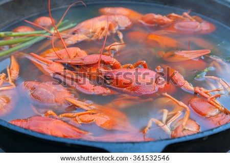 Boiled crayfish in a large cast-iron pot - stock photo