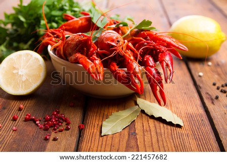 Boiled crayfish on the table - stock photo