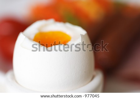 boiled egg and breakfast - stock photo