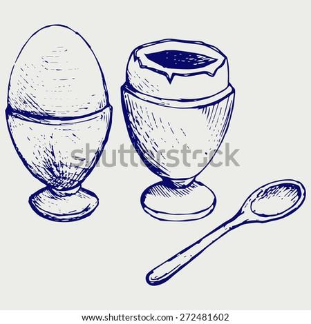 Boiled egg breakfast. Doodle style. Raster version - stock photo