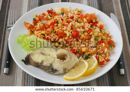 boiled fish with rice with vegetables