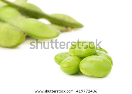 Boiled green soy beans.