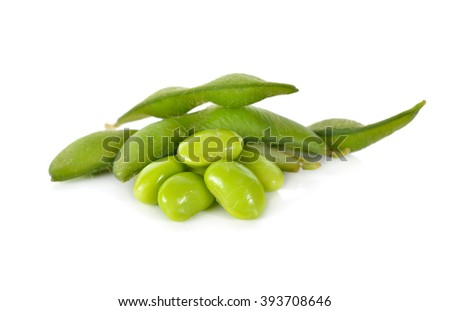 boiled green soybeans on white background
