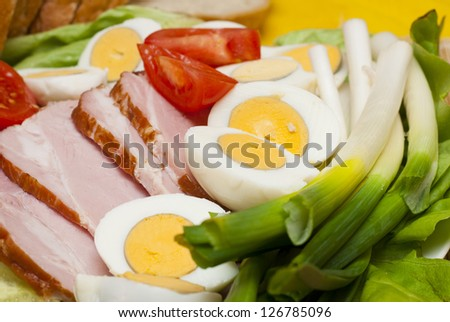 boiled ham, eggs and vegetables, easter dish