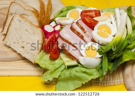 boiled ham, eggs and vegetables, easter food