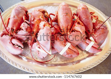 boiled lobster on dish - stock photo