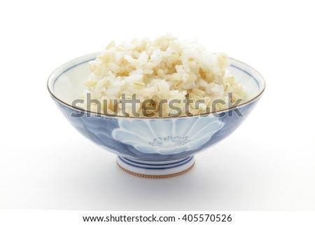 Boiled naked barley and rice  - stock photo