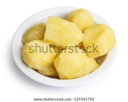boiled potato in bowl, isolated on white - stock photo