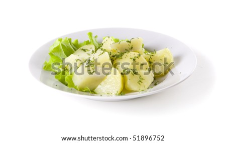 Boiled Potatoes with herbs on white plate - stock photo